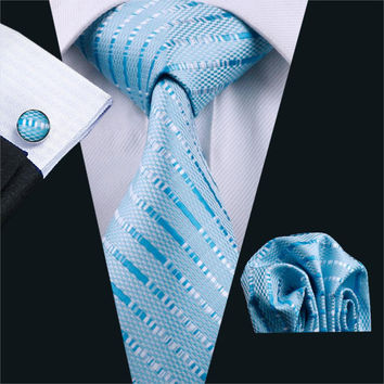 Ties For Men Blue Striped Silk Classic Jacquard Woven Tie Hanky Cufflinks Set For Business Wedding Party