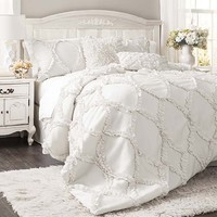 Lush Decor C18088P14-000 Avon White Three-Piece King Comforter Set - (In No Image Available)
