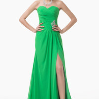 Green Off-Shoulder Beaded Ruched Side Slit Chiffon Maxi Dress