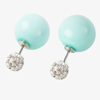 Mint Diamond Ball Stud Double Ended Earrings