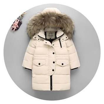 Kids Stylish Fur Hooded Thin Down Jacket