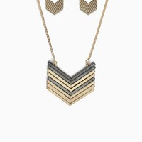 Chevron Metal Interest Pendant Long Necklace