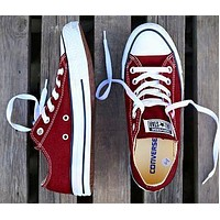 Converse classic tide brand low men and women models versatile canvas shoes Red