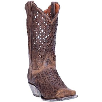 Dan Post Peek-A-Boo Brown Women's Cowboy Boot