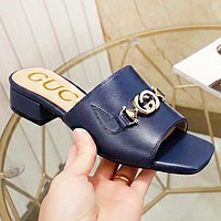 Hipgirls GUCCI Fashion New leather slippersshoes flip flop women Blue