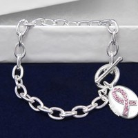 Breast Cancer Ribbon Locket Silver Bracelet Awareness SUpport Pink Ribbon Brand New in Gift Box