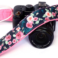 Pink Roses Camera Strap for Canon Nikon and others cameras. Photo Accessories