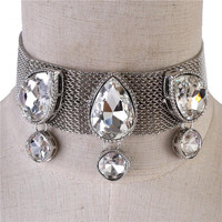 """13"""" silver 1.25"""" .60"""" crystal mesh choker necklace 2"""" wide"""