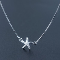 Cute  tiny starfish 925 Sterling Silver necklace, a perfect gift