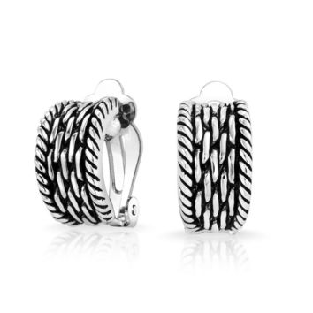 Twisted Cable Chain Weave Half Hoop Clip Earrings On Non Pierced Ears
