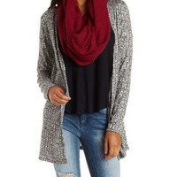 Ribbed Marled Knit Cardigan by Charlotte Russe