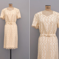 Hello Stranger Dress - Vintage 1960s Lace Dress - 60s Cream Embroidered Dress Size Large l