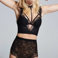 Love, Courtney by Nasty Gal Sugar Coma High-Waisted Lace Panty - Black