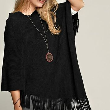 Striped Knit Poncho With Tassel