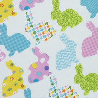 BUNNY Fabric 100% cotton 1 yard silhouette bunnies on white background colorful Easter Rabbit fabric teal orange spring green pink