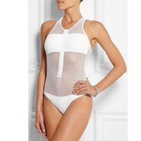 Zipper Mesh Swimwear Women One Piece Swimsuit Perspective Sexy Bathing Suit New High Neck White Mesh Bodysuit