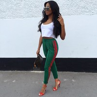 Trousers for women 2017 New sporty sweatpants track pencil pants Casual Side stripe harem Bottom High quality long green pants