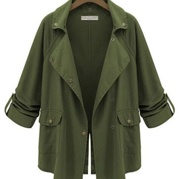 Army Green Roll Up Sleeve Notched Collar Jacket