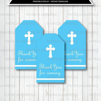 Printable Thank You Tag, First Communion, Holy Communion, Baptism, Boy's First Communion Decorations, Favor Tags, Thank You, Loot Bag Tag