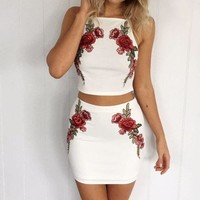 CREYHD2 Solid Color White Embroidery Two-Piece Dress