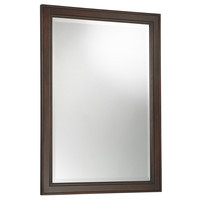 32 x 23.75 Inch Beveled Edge Bathroom Mirror with Dark Brown Walnut Finish Frame