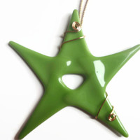 Fused Glass Ornament ~ #Greens #Ornaments #Christmas