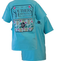 Southern Couture Preppy Southern Hospitality Flower Pineapple Comfort Colors Lagoon Blue Girlie Bright T Shirt