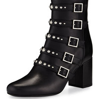 Saint Laurent Babies Belted Leather Boot, Black