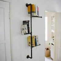 Industrial Pipe Book Shelf with Antique Detail by DirtyBils