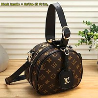 Onewel Louis Vuitton LV Women Retro Leather Handbag Crossbody Shoulder Bag Satchel Black handle + Coffee LV Print,