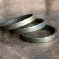 Mens Ring, Dark Hammered Brass Size 10, Rustic Brown Jewelry for Him Wedding Band
