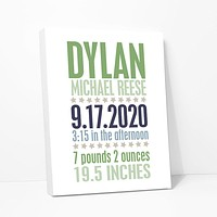 Baby Star Birth Announcement Personalized Canvas