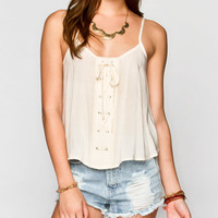 Blu Pepper Lace Up Womens Crop Top Natural  In Sizes