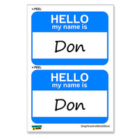 Don Hello My Name Is - Sheet of 2 Stickers