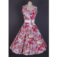 Vintage Halterneck Ruffled Colorful Flora Print Country Western Dress For Women