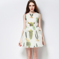 White Cactus Print Sleeve A-Line Dress