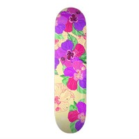 Cream Hibiscus Skateboard