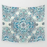 Floral Diamond Doodle in Teal and Turquoise Wall Tapestry by Micklyn | Society6