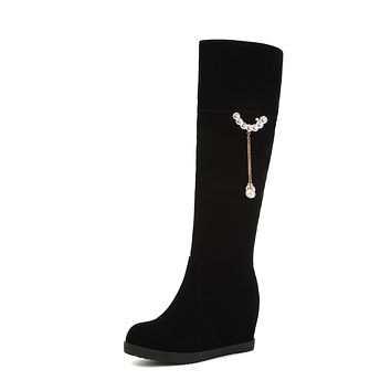 Pearls Platform Wedges Tall Boots Winter Shoes for Woman 5527