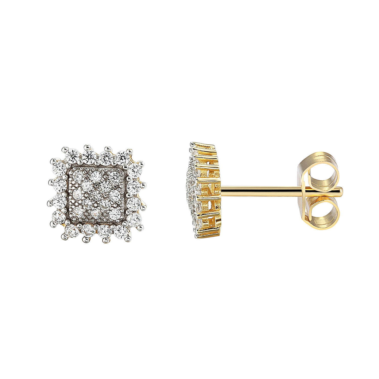 Image of Sterling Silver 14k Gold Finish Cluster Prong Solitaire Lab Diamonds Iced Out Earrings