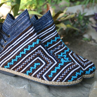 Funky Womens Ankle Boots In Turquiose Hmong Embroidery Short Boot - Amber