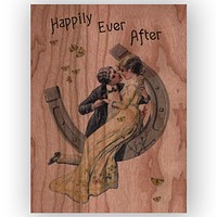 Romantic Horseshoe Kiss Wood Card