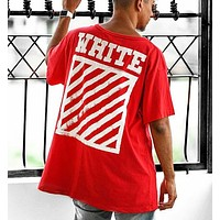 Off White Fashion New Letter Stripe Print Leisure Women Men Top T-Shirt Red