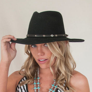 Vintage Wool Turquoise Concho Hat with Leather and Silver Handmade Hatband | Womens Boho Western Fedora | Black Wide Brimmed Festival Hat