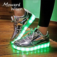 Fashion Luminous Glowing Sneakers LED Shoes with Luminous Sole Basket Femme LED Slippers Light Up Shoes for Kids Boys Girls 30