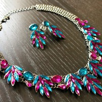 Blue Statement Necklace- Statement Necklaces, Chunky Necklaces, Choker Necklace