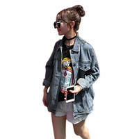 1pc Bf Wind Autumn And Winter Women Denim Jacket Vintage Harajuku Oversize Loose Female Jeans Coat Solid Slim Chaquetas Mujer