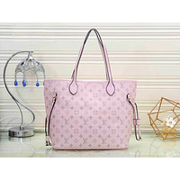 LV hot selling fashion floating pattern women's single shoulder color shopping bag Pink
