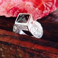 Deep Red Garnet Ring Sterling Silver Checkerboard Faceted Scroll Design Wine Color Natural Gemstone Vintage Jewelry from Gems on the Rocks