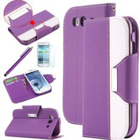 S3 Case, Galaxy S3 Case - ULAK [Kickstand Feature] Wallet Case Credit Card Holder PU Leather Flip Case Magnetic Cover Samsung Galaxy S3 III i9300 w/ Built-in Card Slots Stand (Purple/White)